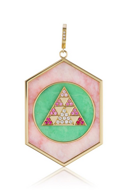 HARWELL GODFREY Dual Inlay Pendant in Pink Opal/Green Chalcedony