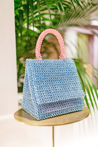 LISA FOLAWIYO Crystalized Bead Top Handle Bag - Blue & Pink