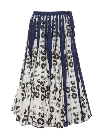JONATHAN COHEN The Rickie Skirt With Godets Block Print Cotton