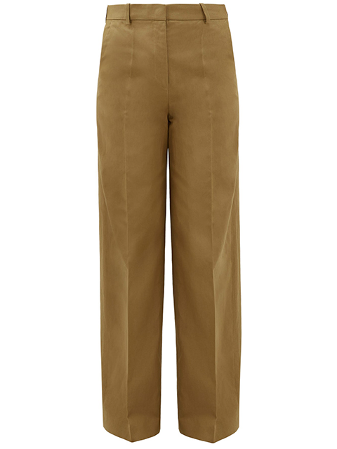 JOSEPH Alana Cotton Linen Canvas Trouser - Khaki