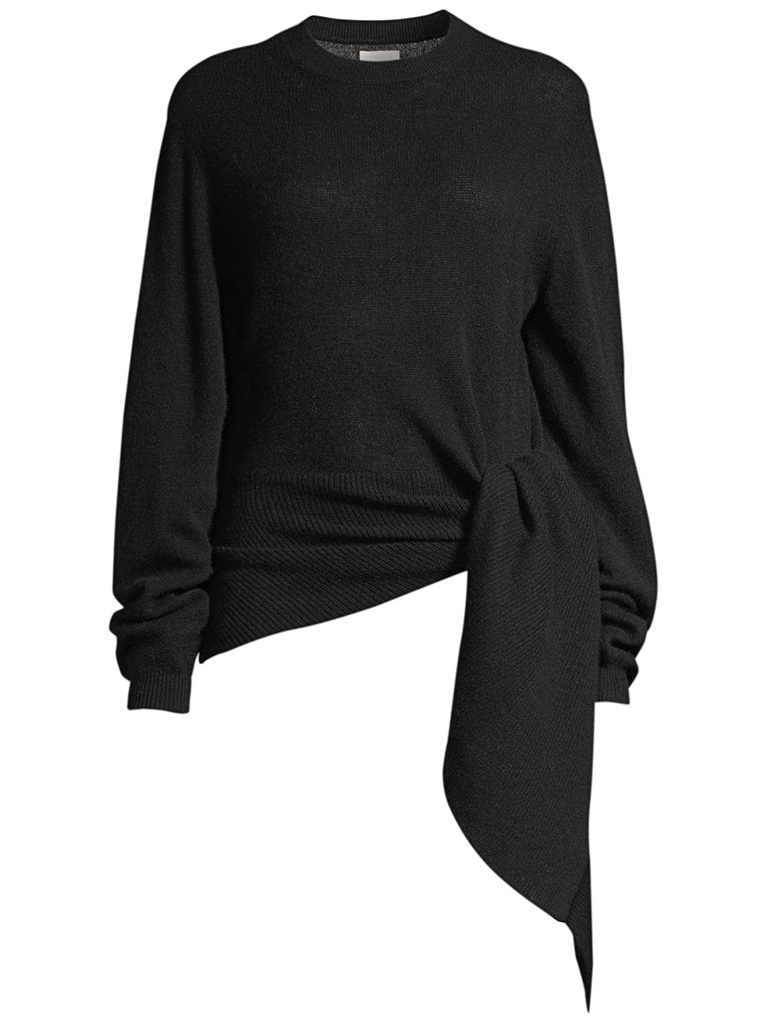 KHAITE Esme Sweater w/ Side Drape - Black