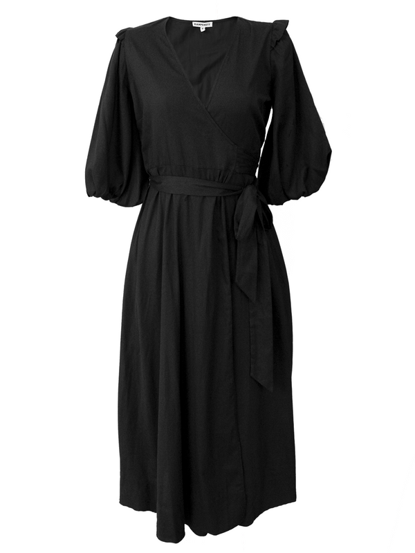 KAMPERETT Loretta Cotton Midi Dress - Black