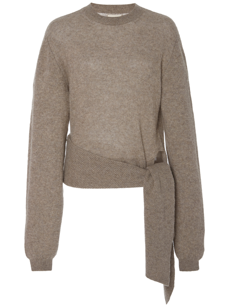 KHAITE Esme Sweater w/ Side Drape - Barley