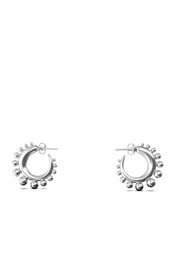 KHIRY Tiny Khartoum Embellished Hoops - Silver (PRE-ORDER)