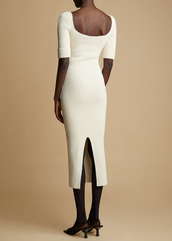 KHAITE Leana Ivory Knit Dress