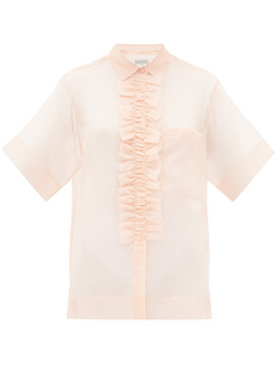 LEE MATHEWS Callie Ruffle Front Short Sleeve Shirt - Pink