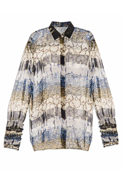 LISA FOLAWIYO Organza Mixed Print Shirt