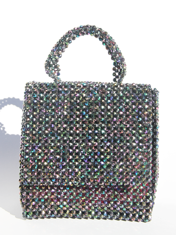 LISA FOLAWIYO Crystalized Bead Top Handle Bag - Black Irridescent