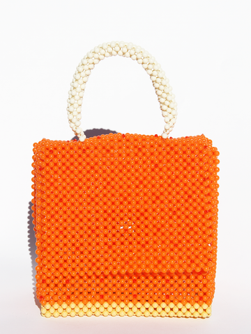 LISA FOLAWIYO Ornamental Top Handle Bag - Orange/Cream/Yellow