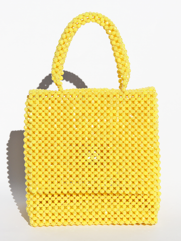 LISA FOLAWIYO Crystalized Bead Top Handle Bag - Yellow