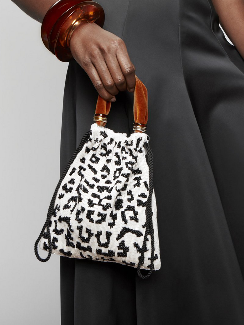 LIZZIE FORTUNATO Gala Wristlet in Black & White Spot