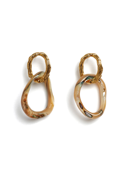LIZZIE FORTUNATO Loto Earrings - Gold plated w/ textured brass