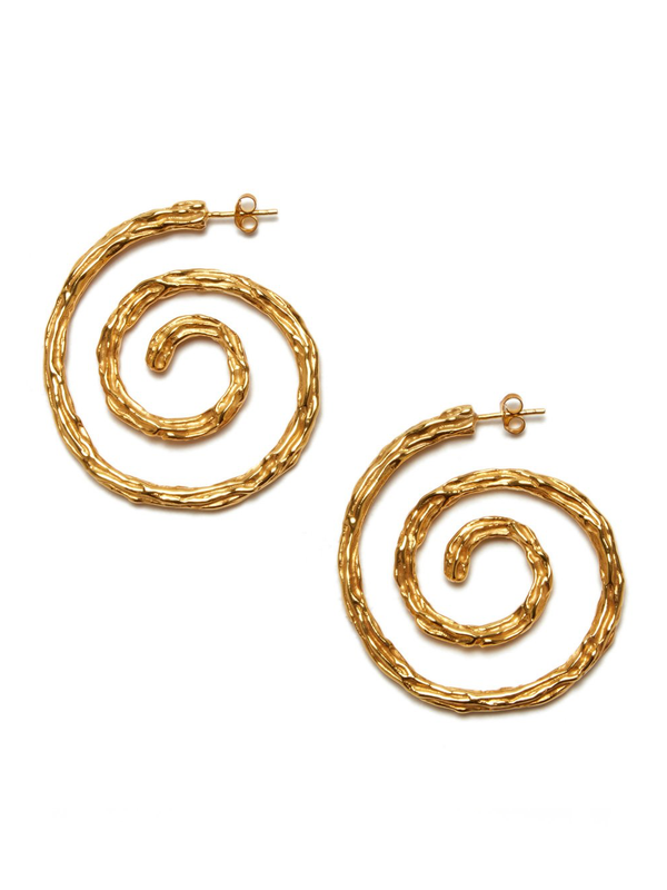 LIZZIE FORTUNATO Spiral Gold Plated Textured Earrings
