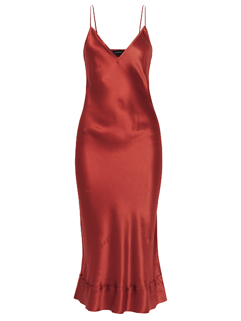 LEE MATHEWS  Stella Silk Satin Slip - Dark Red