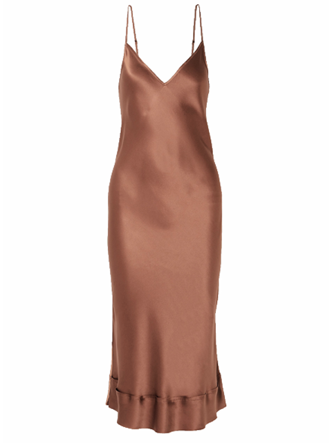 LEE MATHEWS Stella Silk Satin Slip - Chocolate