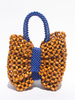 LISA FOLAWIYO Wooden Bow Top Handle Bag Blue