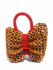 LISA FOLAWIYO Wooden Bow Top Handle Bag Red