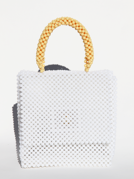 LISA FOLAWIYO Plain Top Handle Bag - White/Yellow