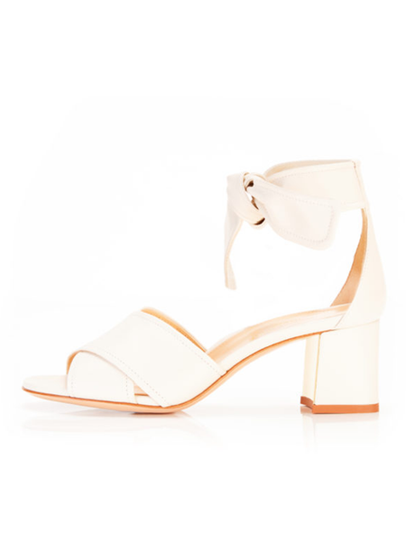 MARION PARKE Bella Ivory Wrap Tie Sandal and Mirror Heel 60mm