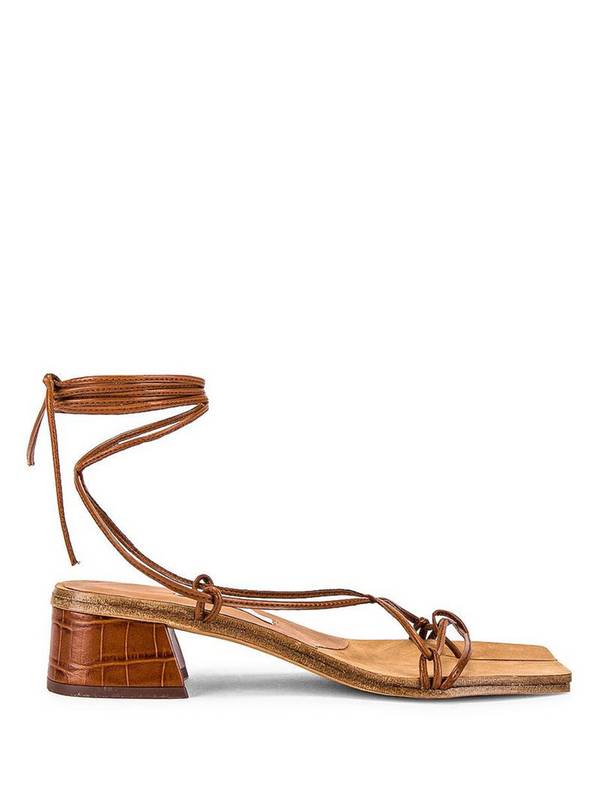 MIISTA Brown Croc Cimarron Nappa Sandals