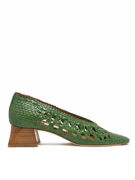 MIISTA Marina Green Leather Heels