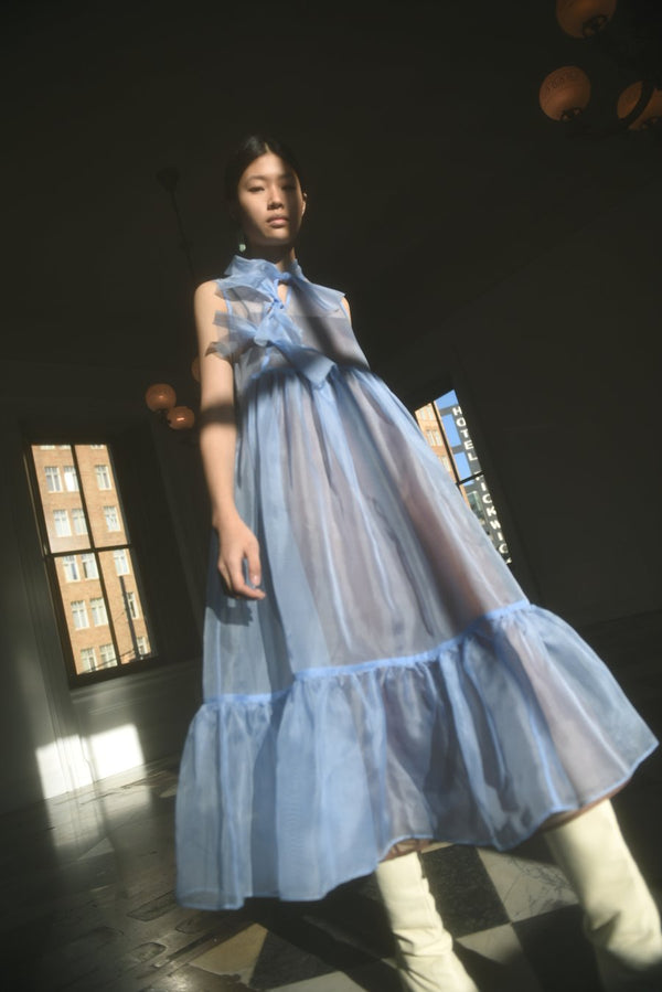 KAMPERETT Mae Silk Organza Dress - Cornflower