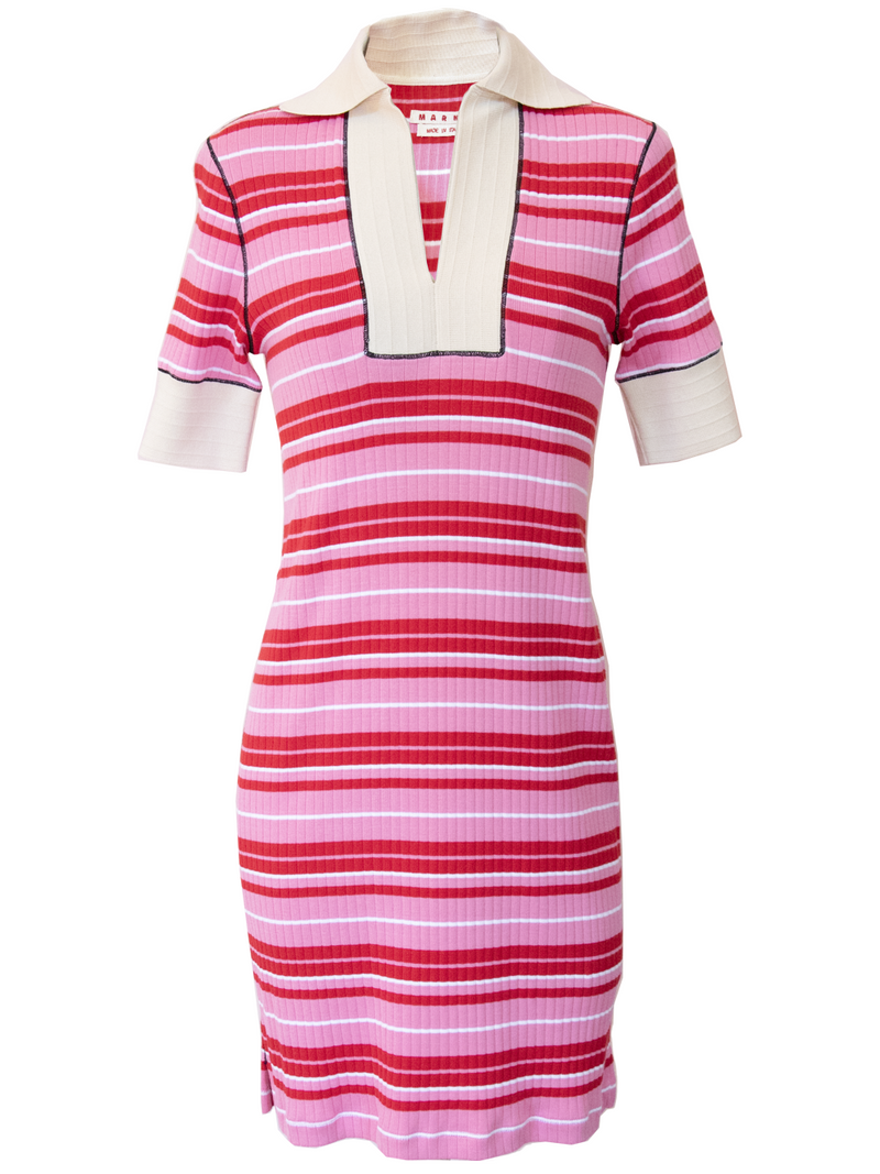 MARNI Short Sleeve Ribbed Stripped Dress