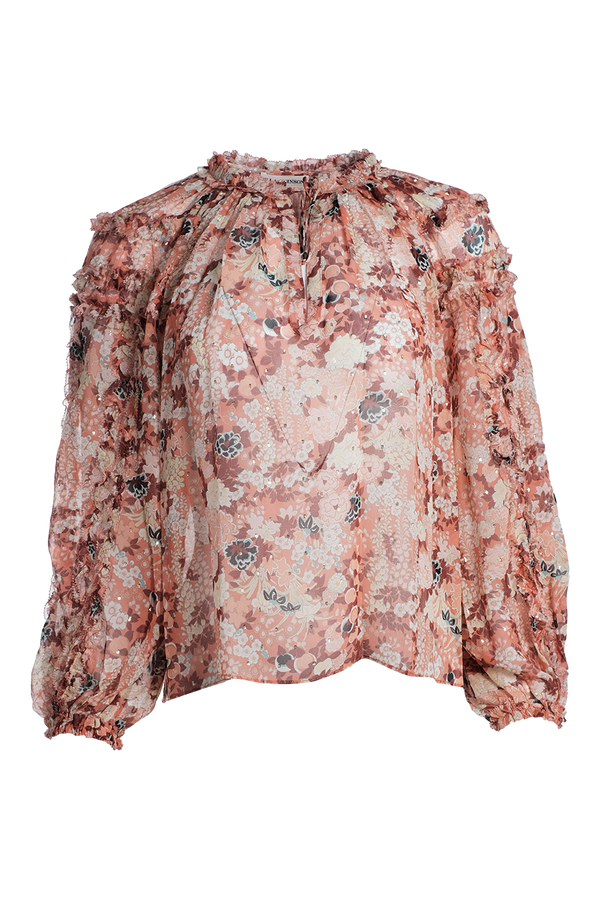 ULLA JOHNSON Adela Floral Print Top