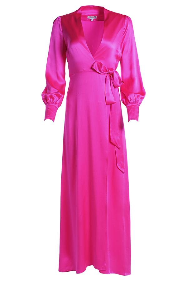 KAMPERETT Adelaide Silk Maxi Wrap Dress - Fuchsia