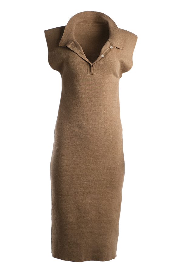 JACQUEMUS Santon Linen Midi Dress - Dark Beige