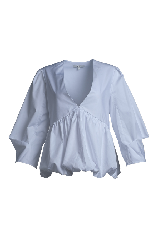 TIBI Eco Poplin White Peplum Top