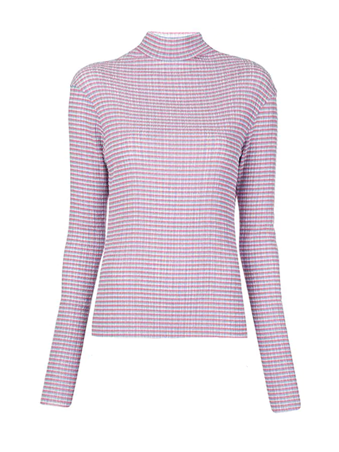 NOMIA Long Sleeve Knit Top - Blue & Pink Multi