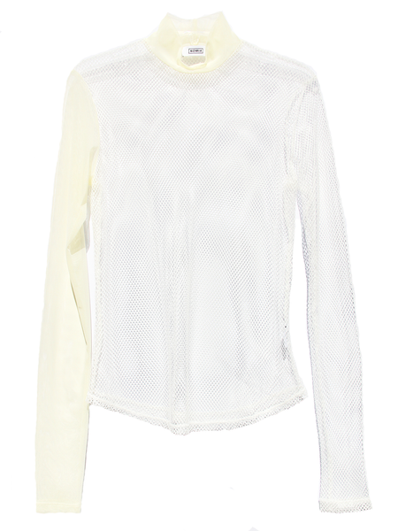 NOMIA Tan Mesh White Net Mockneck Turtleneck Top