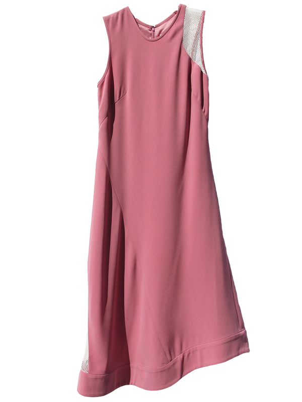 NOMIA Net Insert Asymmetric Peony Midi Dress
