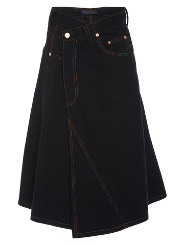 PROENZA SCHOULER Asym Skirt-Washed Rigid Denim - Black
