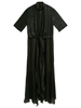 PETAR PETROV SHORT SLEEVED ASYMMETRIC PANELED DEVOREE DRESS