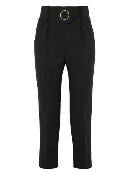 Petar Petrov HIGH WAIST TAILORED WOOL PANTS WITH VELVET STRIPE