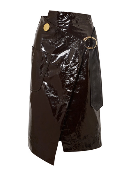 Petar Petrov PATENT LEATHER WRAP SKIRT WITH PATCH POCKET