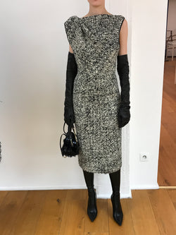 ROCHAS Sleeveless Tweed Pencil Dress