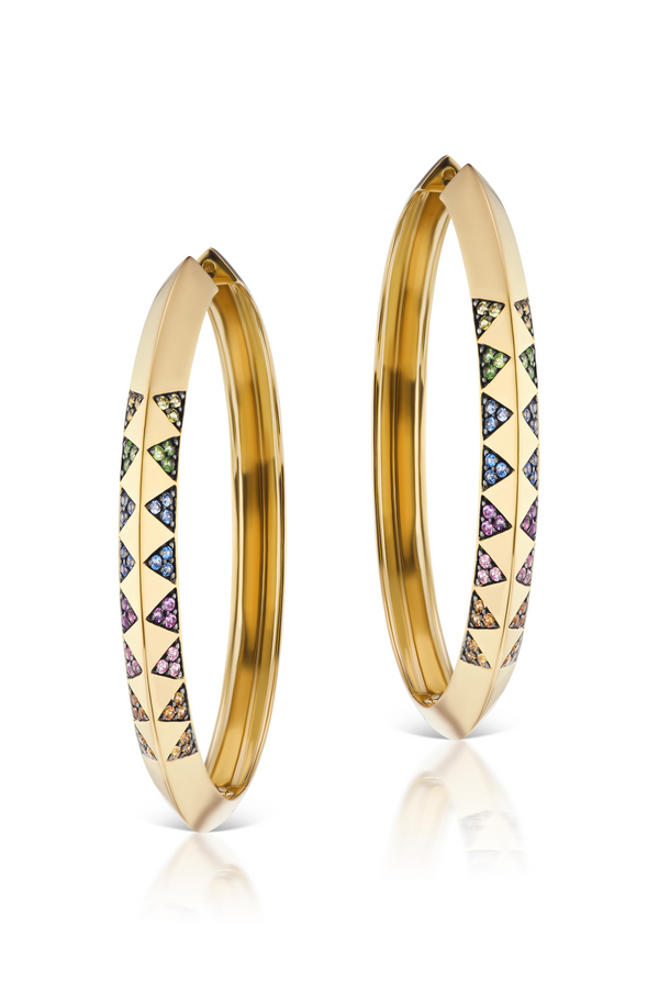 HARWELL GODFREY Knife Edge Pave Hoop Earrings in White Diamond