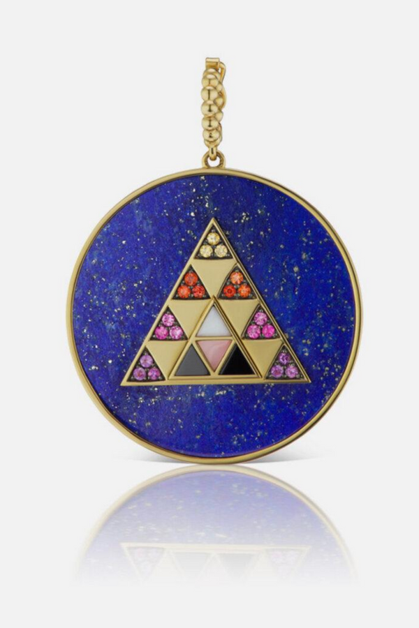 HARWELL GODFREY Stone Inlay Triangle Medallion in Lapis Multi