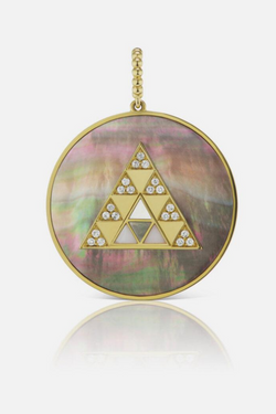 HARWELL GODFREY Stone Inlay Triangle Medallion in Dark Mother-of-Pearl
