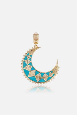 HARWELL GODFREY Mini Crescent Inlay Charm in Turquoise