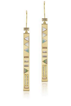 HARWELL GODFREY Juju Stick Earrings with Baguettes in Mother of Pearl