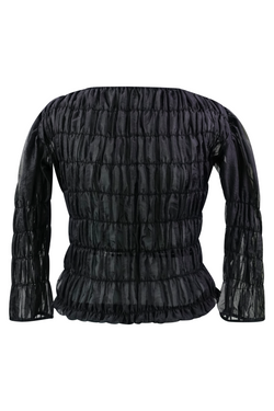AKIRA NAKA Fey Sheer Shirred Pullover - Black