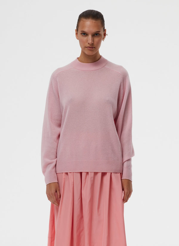 TIBI Featherweight Cashmere Crewneck Pullover / Blossom