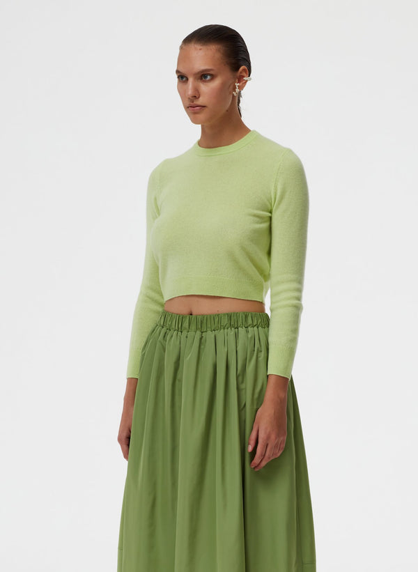 TIBI Featherweight Cashmere Perfect Shrunken Crewneck Sweater / Mint