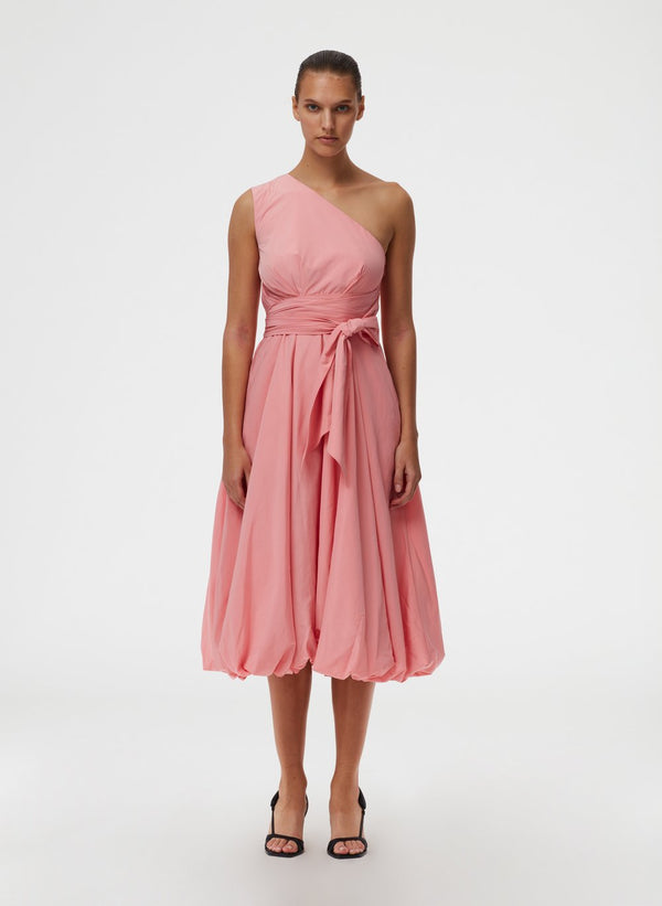 TIBI Taffeta One Shoulder Dress / Azalea Pink