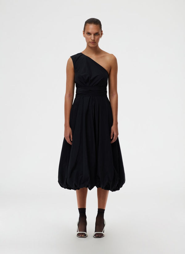 TIBI Taffeta One Shoulder Dress / Black