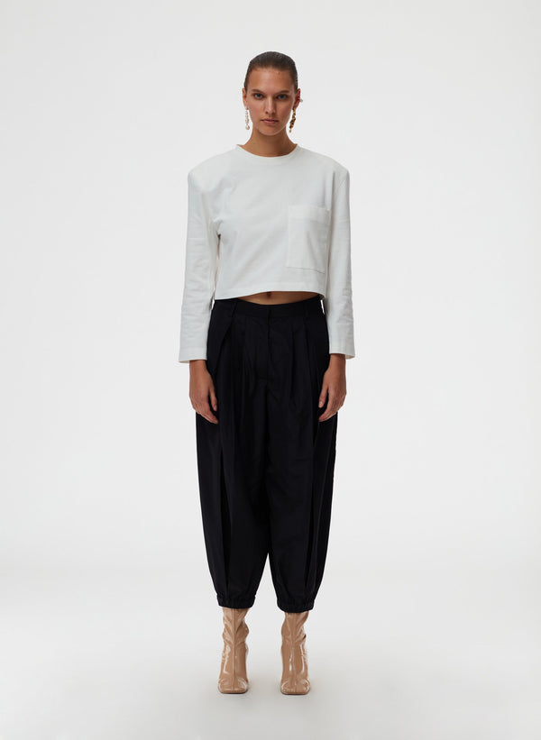 TIBI Taffeta Pleated Balloon Pant / Black